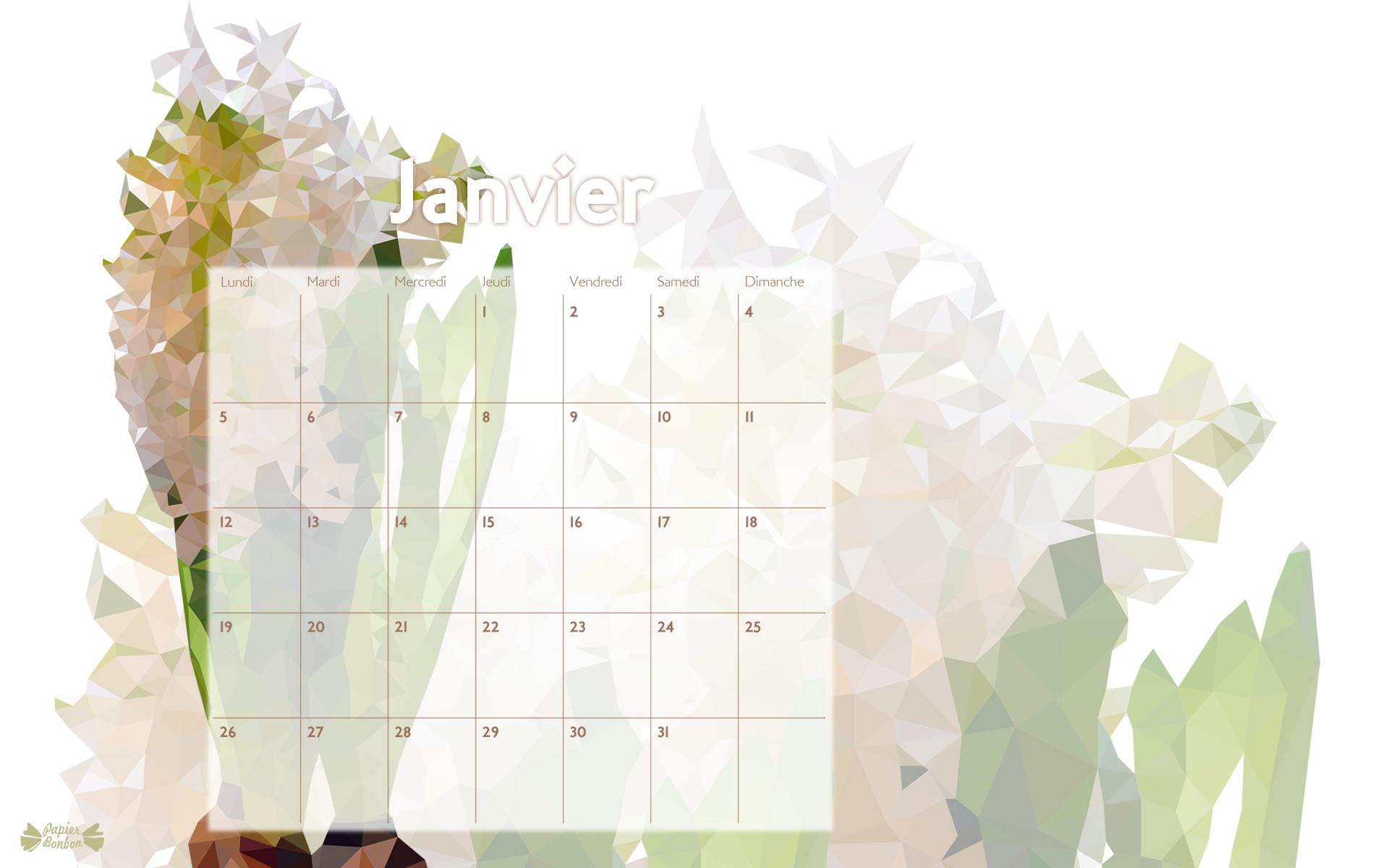 Fond d'écran Calendrier Janvier 2015 à télécharger