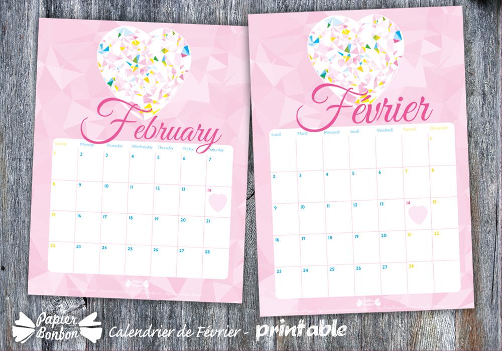 Calendrier février 2015 printable