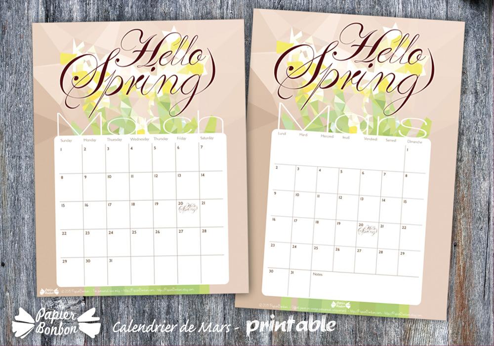 Calendrier mars 2015 printable gratuit