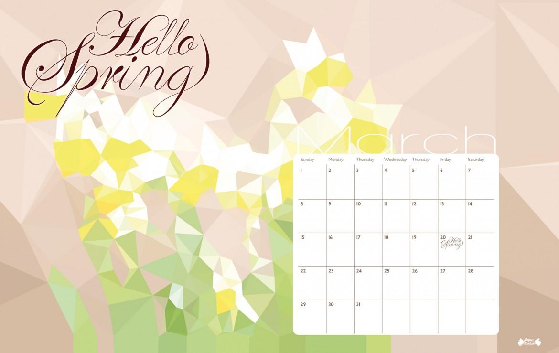Desktop Calendar Wallpaper With Reminder : March calendar printable hello spring papier bonbon