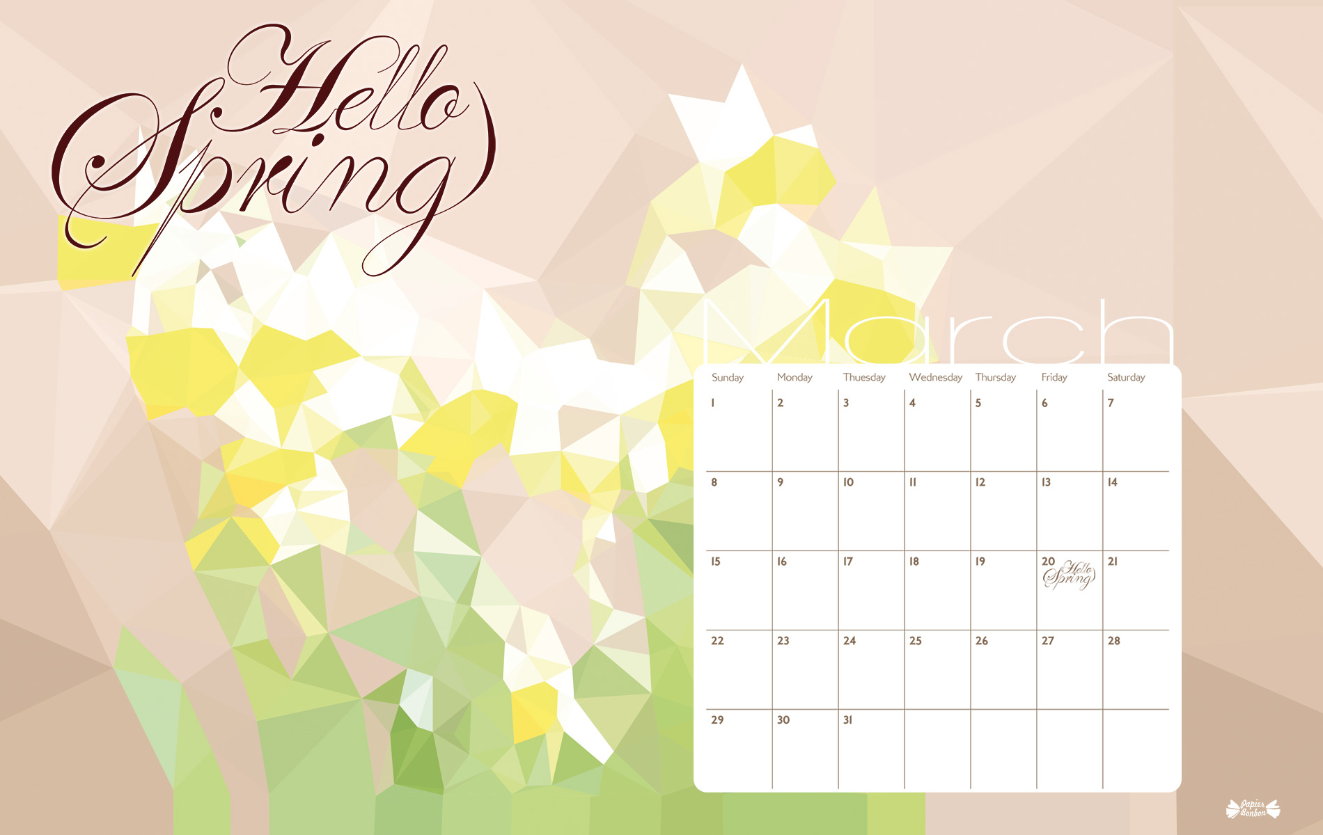 Calendar Desktop Wallpaper March : March calendar printable hello spring papier bonbon