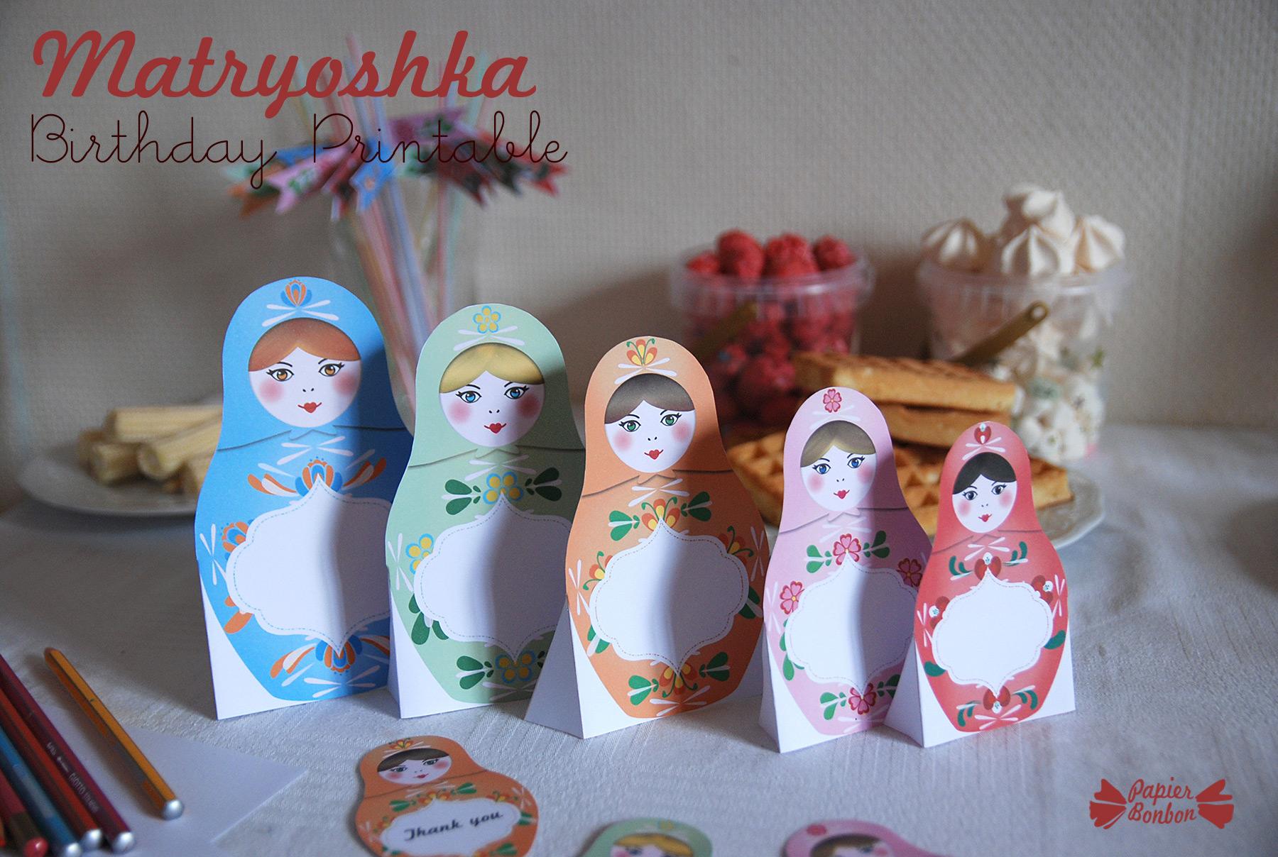 Matryoshka Birthday Party Kit High Quality Printables
