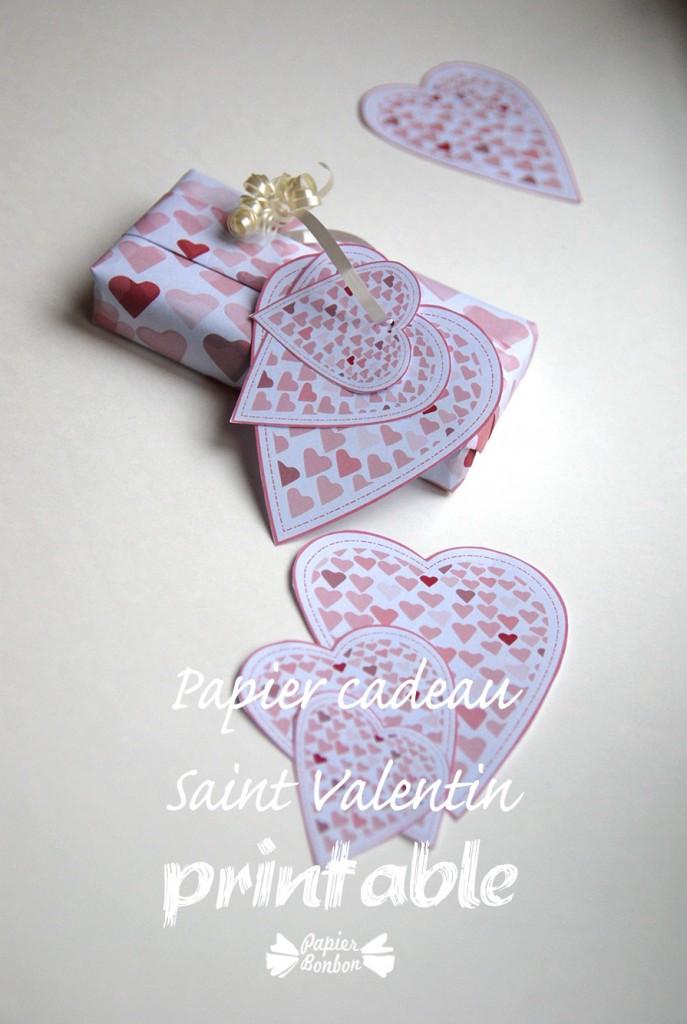 Printable gratuit papier cadeau & étiquettes Saint Valentin