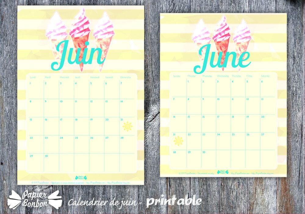 Calendrier de juin 2015 - Printable gratuit à imprimer