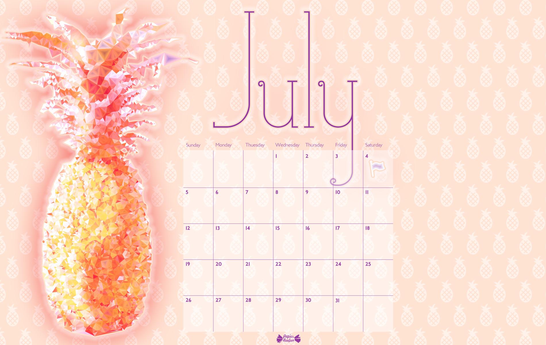 July printable calendar - Pineapple ! - Papier Bonbon