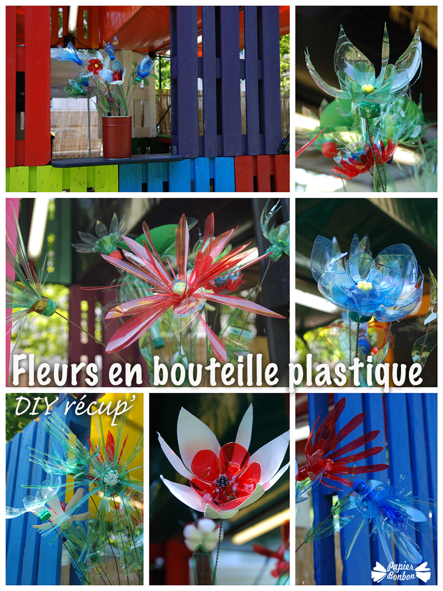 diy fleurs en bouteille plastique les invites de villeurbanne papier bonbon. Black Bedroom Furniture Sets. Home Design Ideas