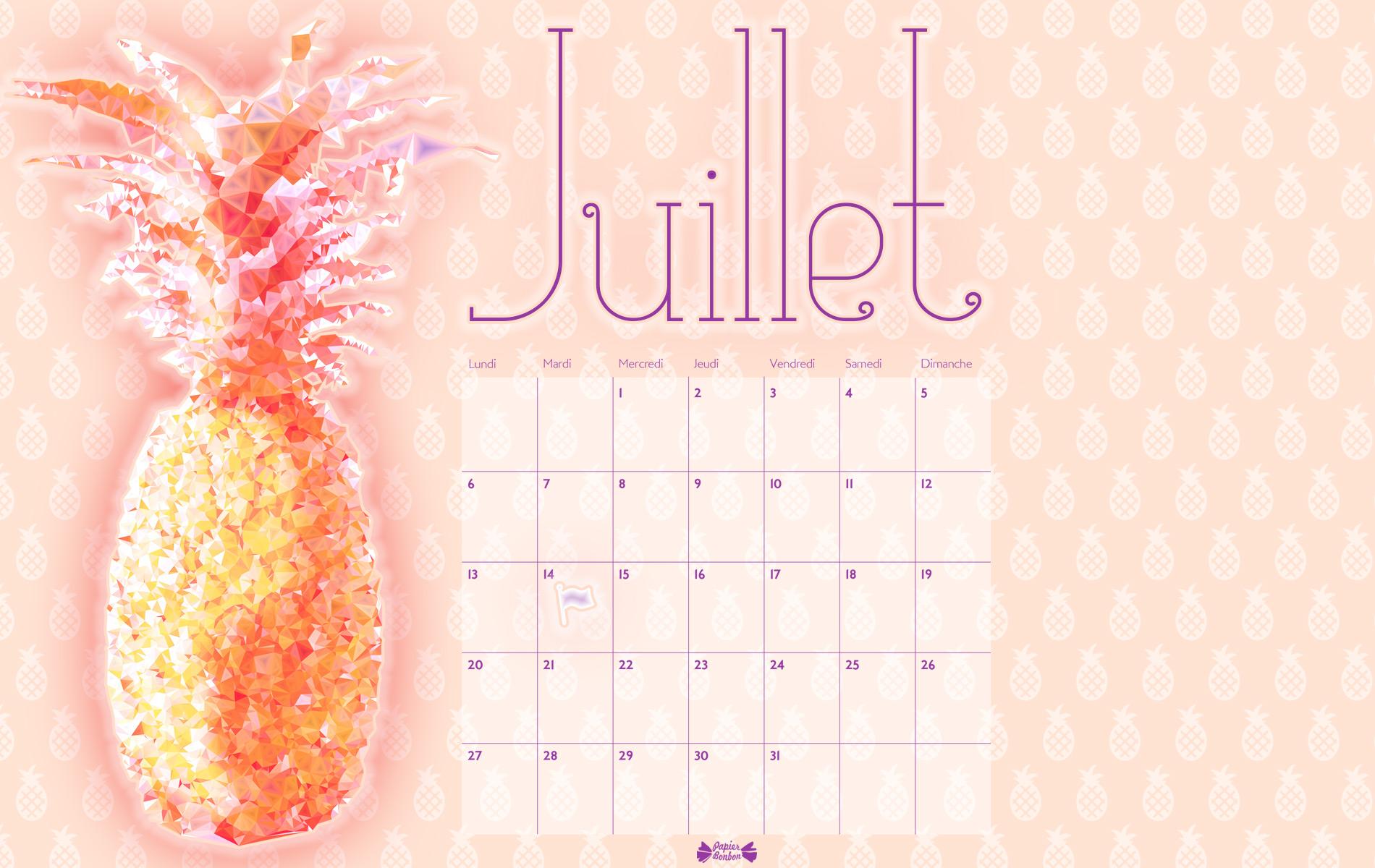 Calendrier de juillet imprimer ananas papier bonbon for Fond ecran jul