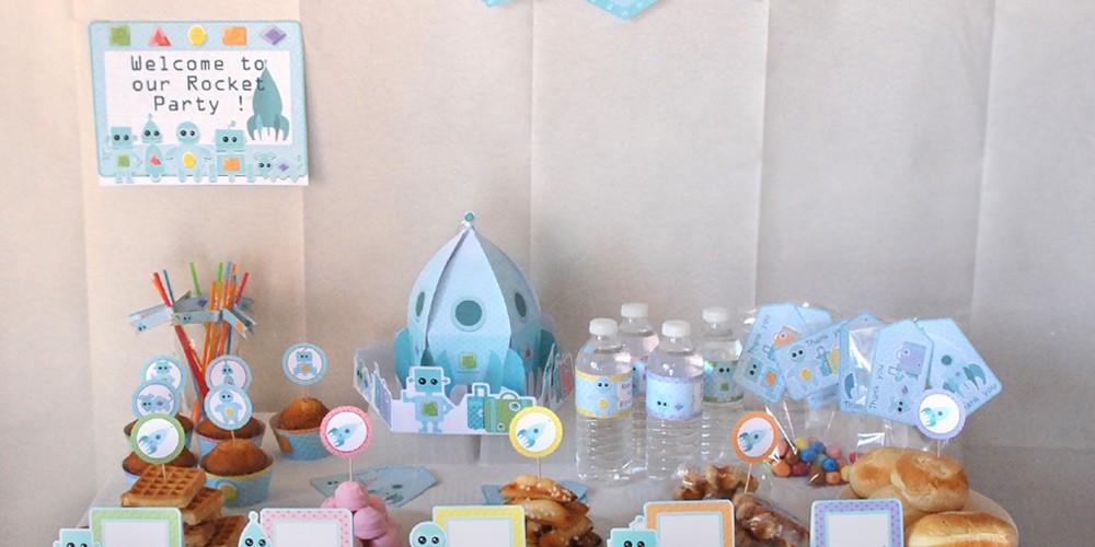 Anniversaire robots et fusée : kit de décoration de fête d'anniversaire