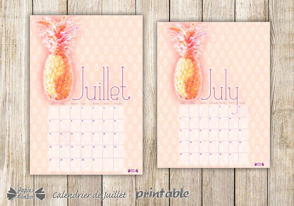 Calendrier de juillet à imprimer - Ananas ! - Papier Bonbon