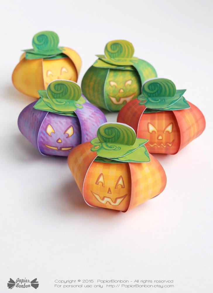 Bo tes cadeau citrouille d 39 halloween printable papier bonbon - Citrouille halloween en papier ...