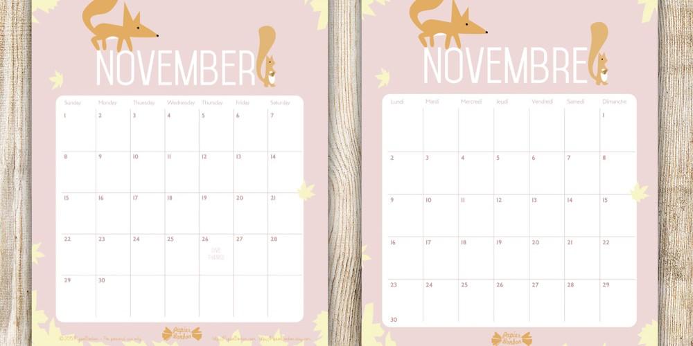 Calendrier de Novembre - Printable - Papier Bonbon