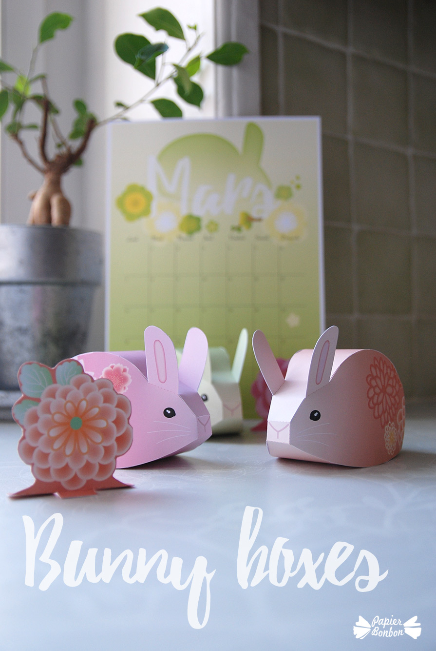 March printable calendar bunny boxes papier bonbon march printable calendar the bunny diy gift box negle Choice Image
