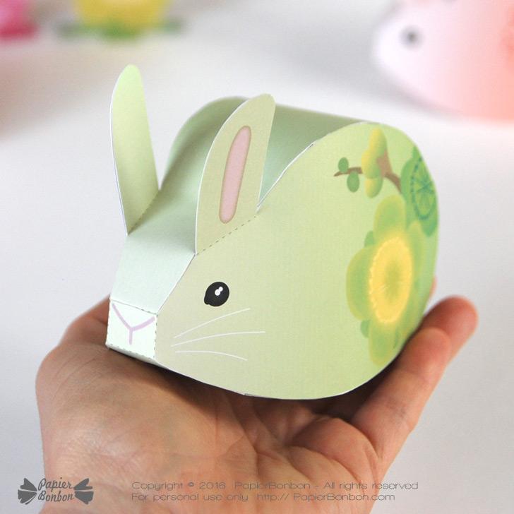 bo tes cadeau lapin fleurs imprimer papier bonbon. Black Bedroom Furniture Sets. Home Design Ideas