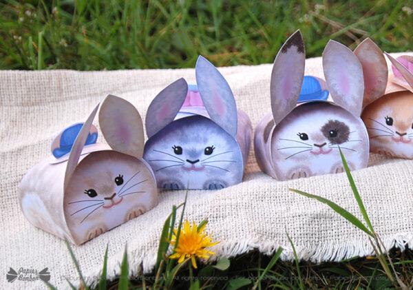 Imprimez et créez 6 adorables boîtes cadeau en forme de Lapin pour Pâques, des anniversaires ou fêtes de Printemps.