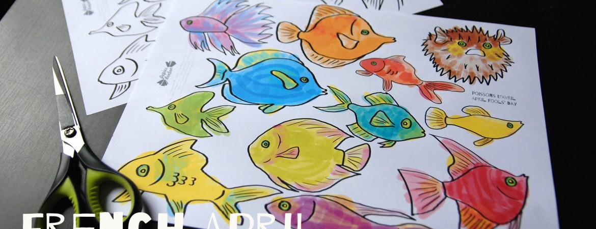 French April Fools' day tradition: stick paper fish on everybody's back - coloring pages printable