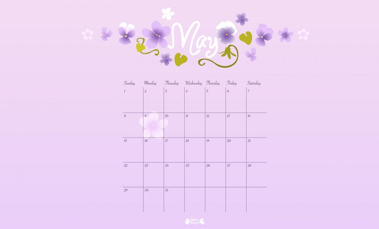 May Printable Calendar - Papier Bonbon