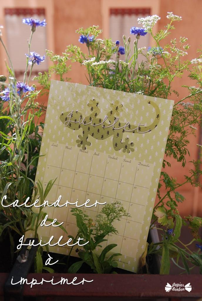 Calendrier de juillet à imprimer - Printable Gecko vert