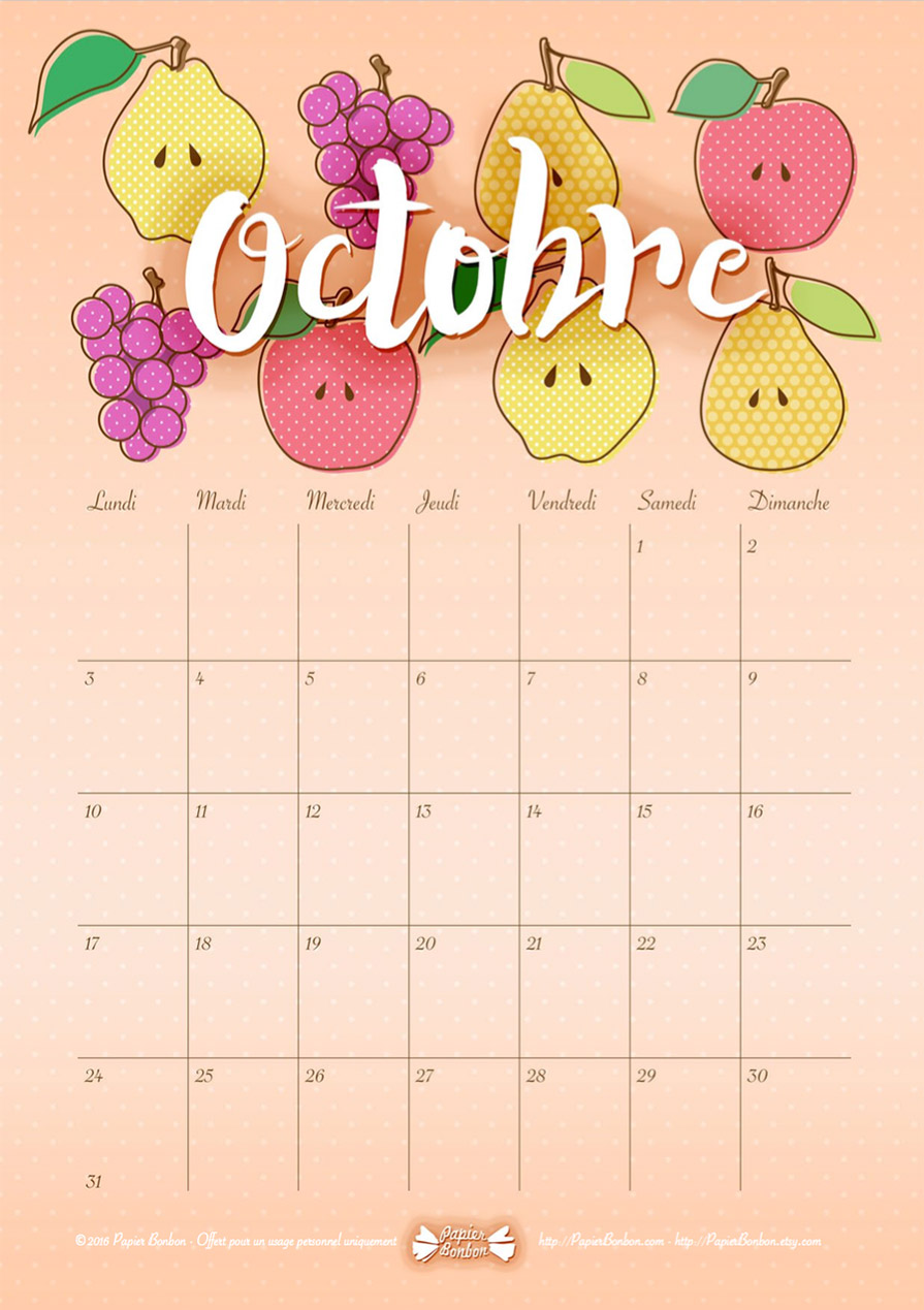 calendrier octobre 2016 à imprimer