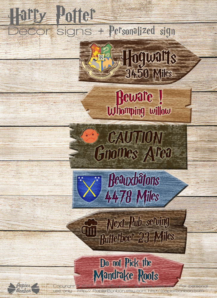 Harry Potter decor signs