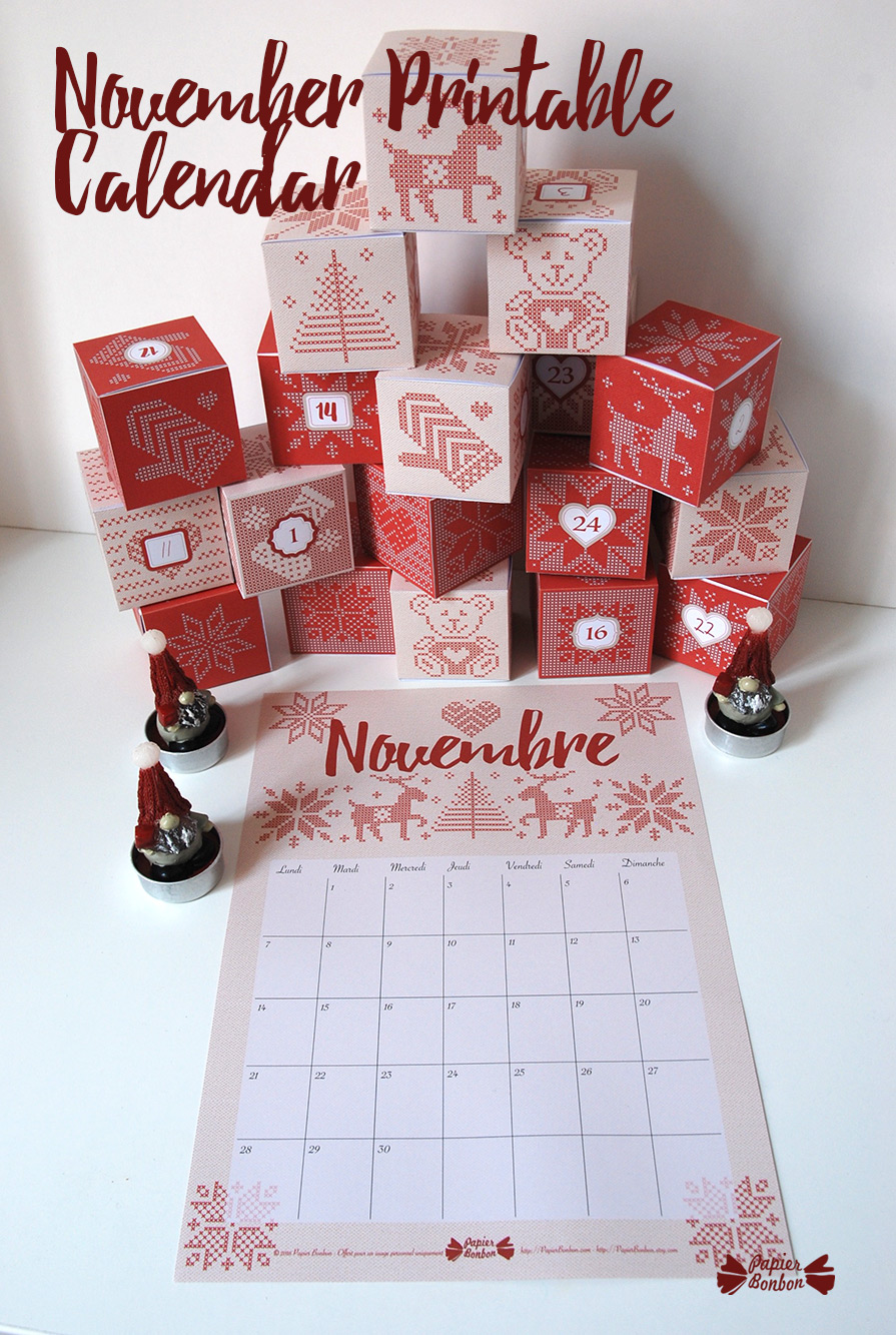 Kids Monthly Calendar : November printable calendar advent papier bonbon
