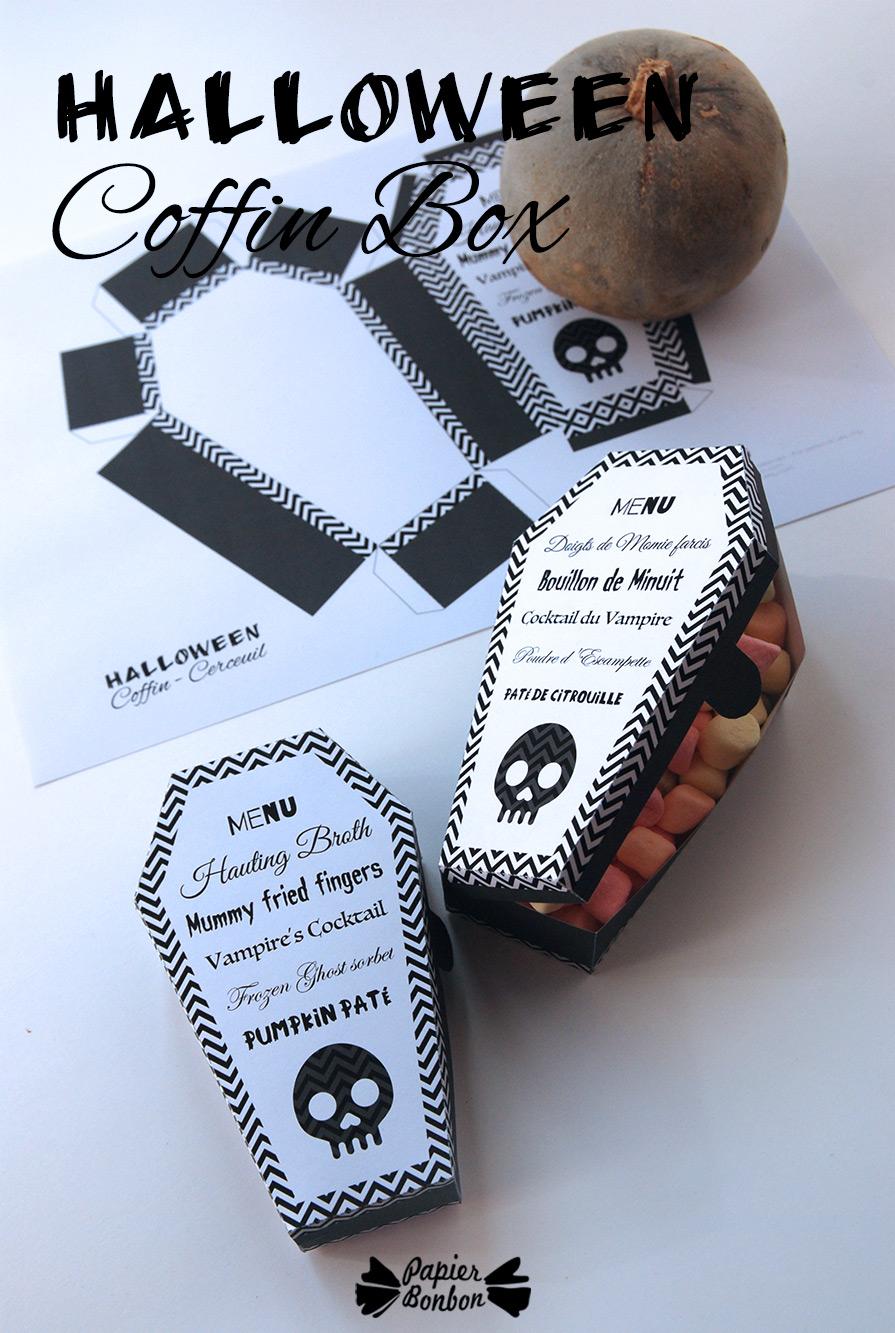 Halloween Coffin Favor Box Printable Papier Bonbon