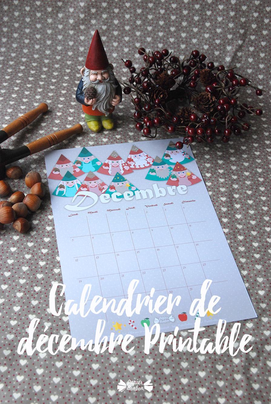 Calendrier printable de décembre les gnomes