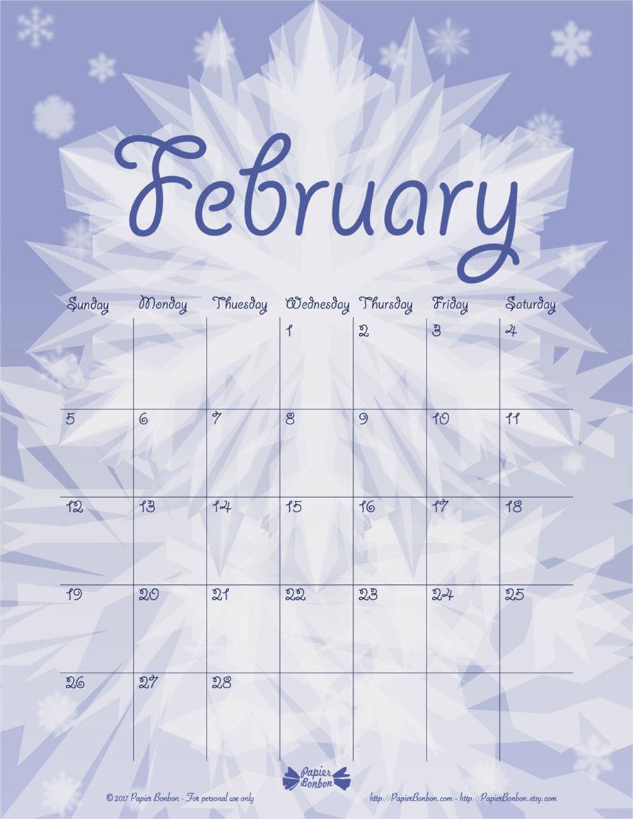Snowflake Calendar Printables : February printable snowflakes calendar papier bonbon