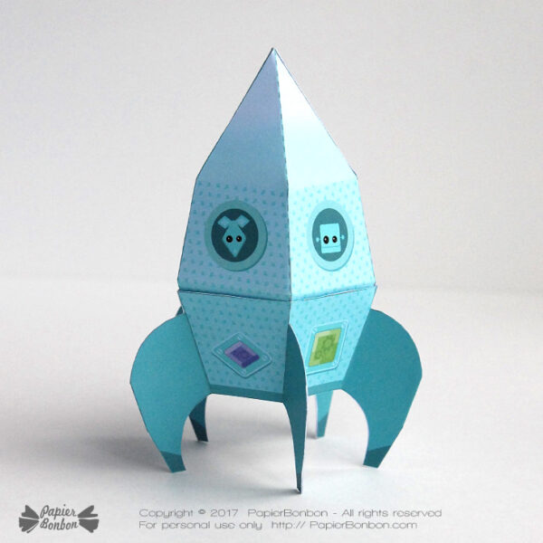 Fusée papertoy et boite - papertoy rocket and gift box
