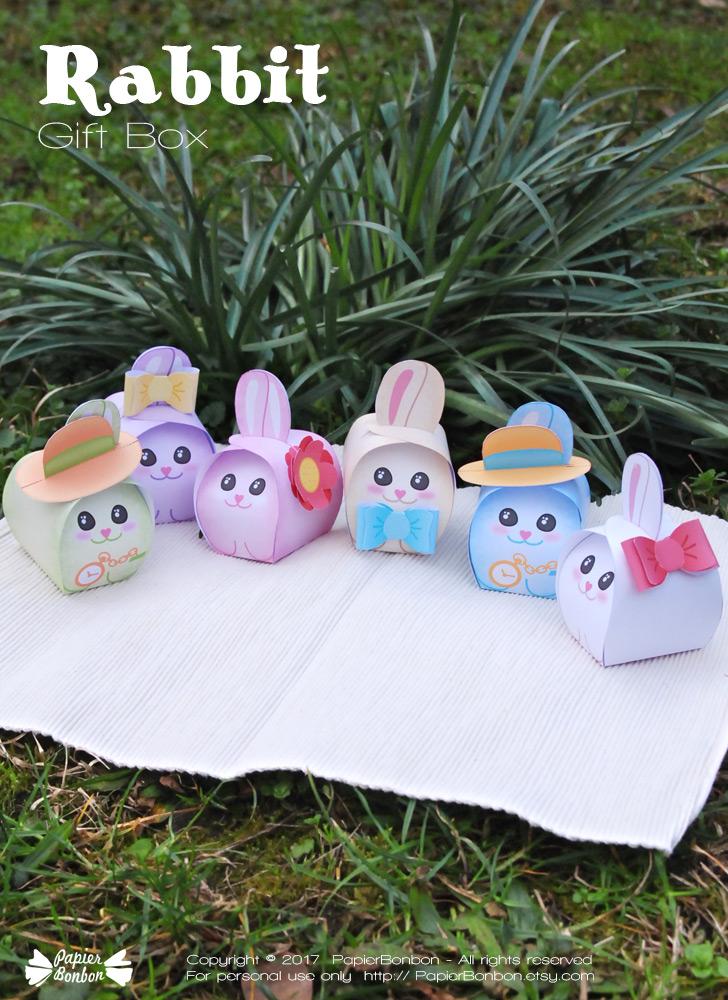 Rabbit gift box pastel colors papier bonbon rabbit negle Image collections