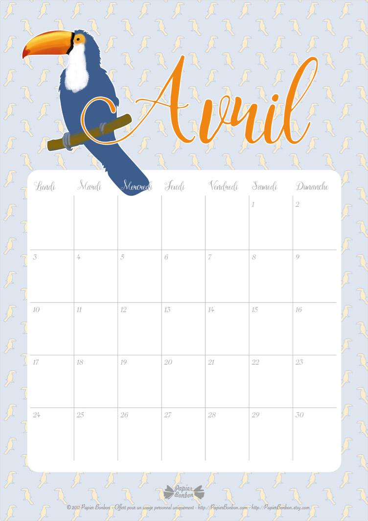 Toucan calendrier avril semainier planning papier bonbon - Calendrier lunaire rustica avril 2017 ...