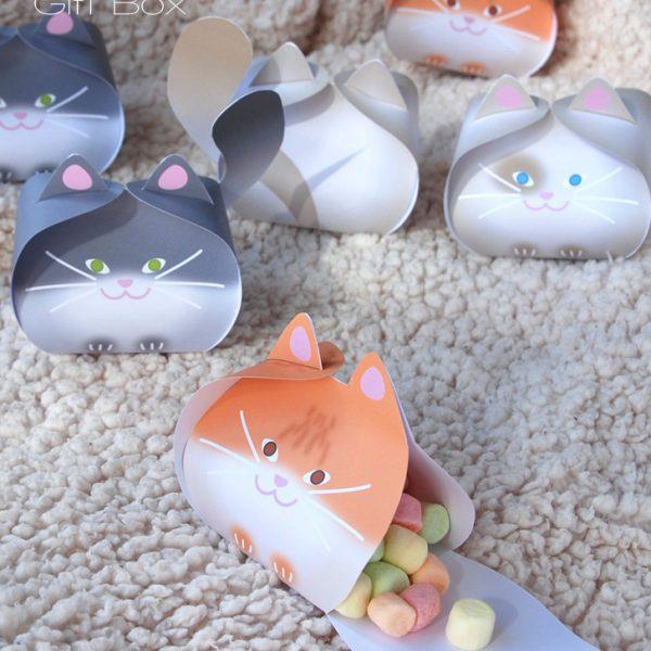 Printable cat gift box - Boîte chat à imprimer