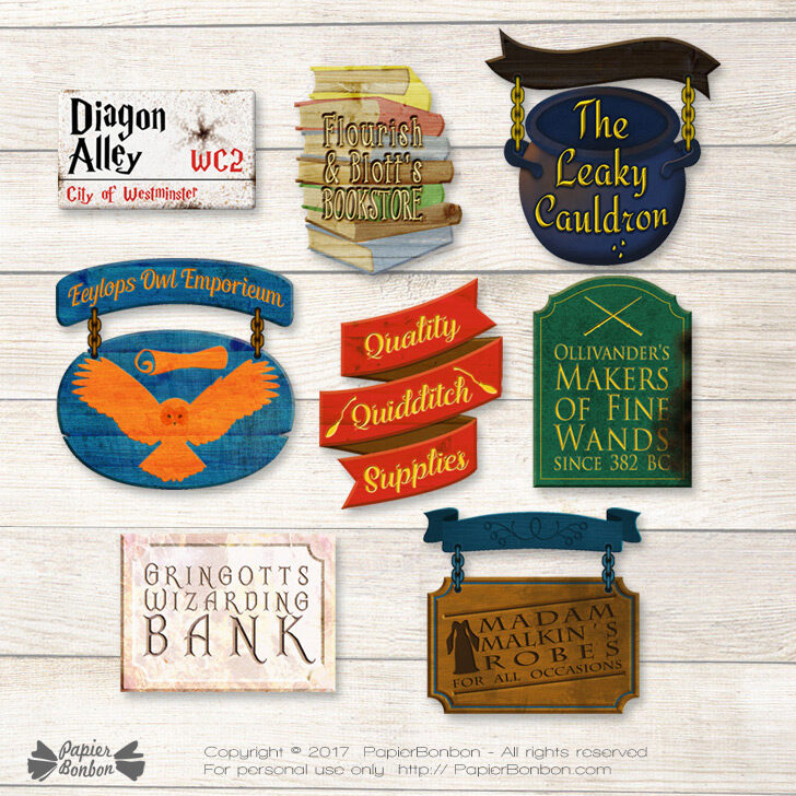 picture regarding Harry Potter Printable Signs known as Diagon Alley store indications - Harry Potter