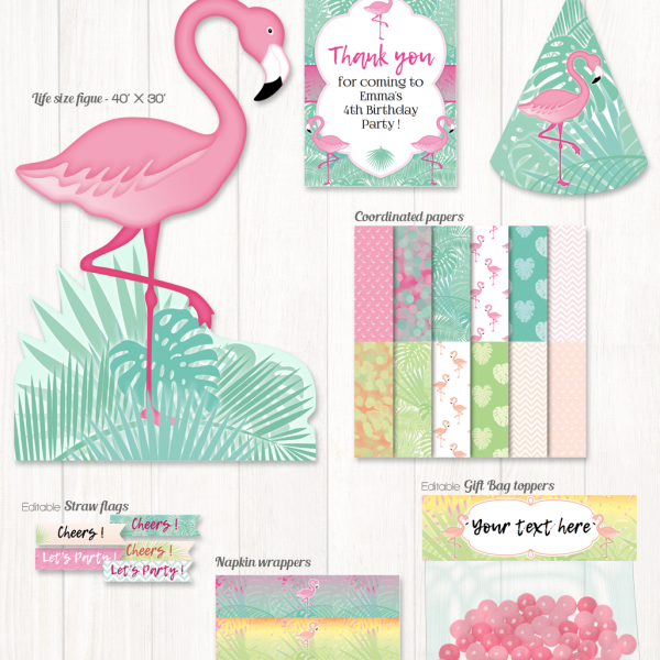 Decorations de fête flamand rose / Flamingo party decorations set