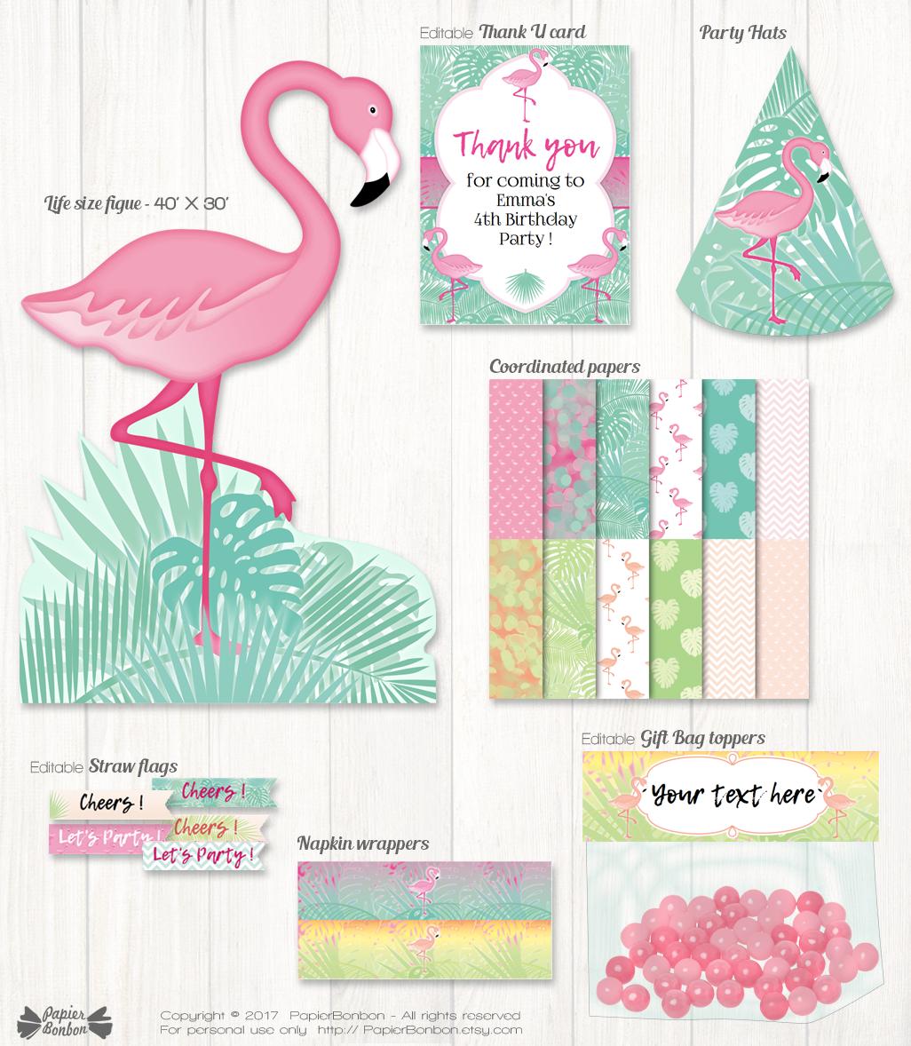 Decorations de fête flamand rose / Flamingo party decorations set