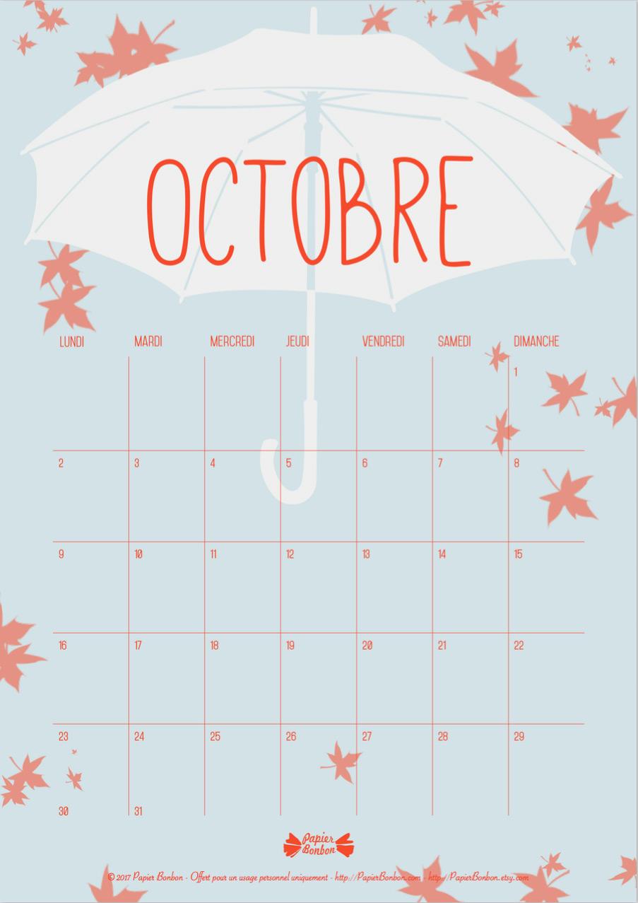 Calendrier d 39 octobre printable papier bonbon - Calendrier lune octobre 2017 ...