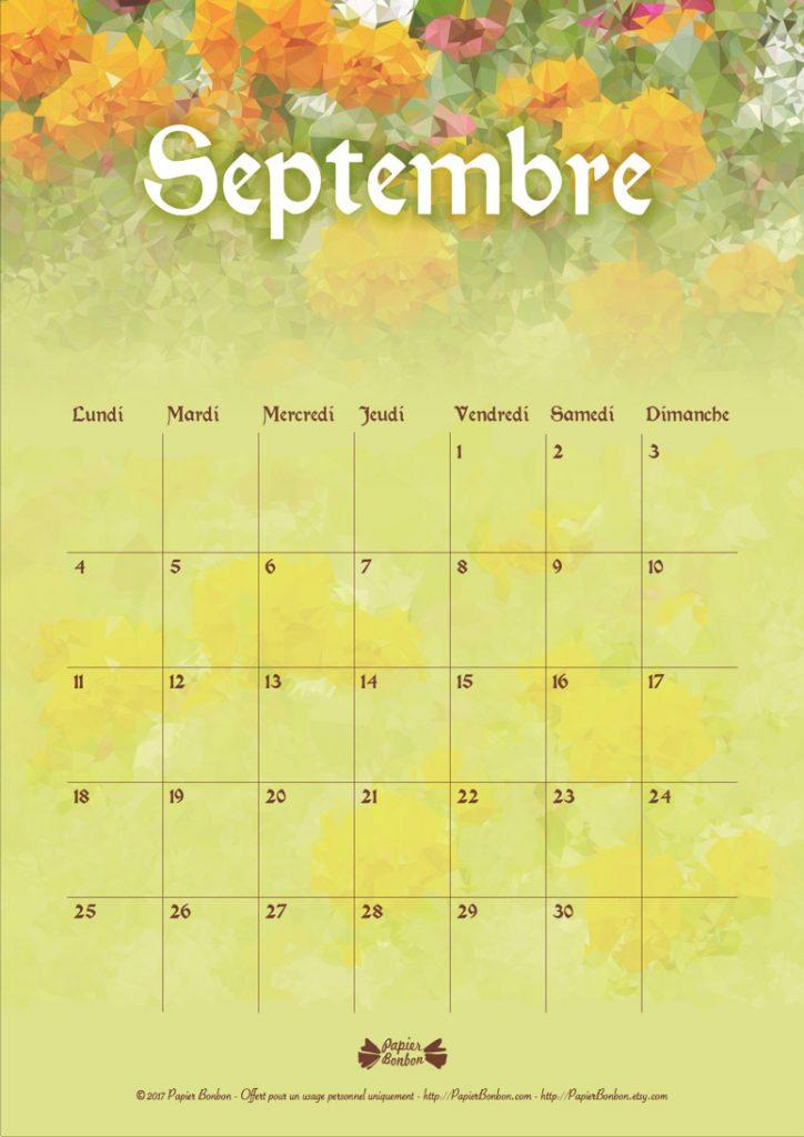 calendrier septembre fleuri