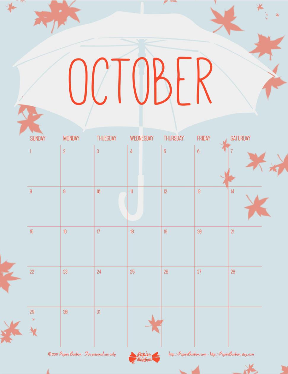 October Printable Calendar - Papier Bonbon