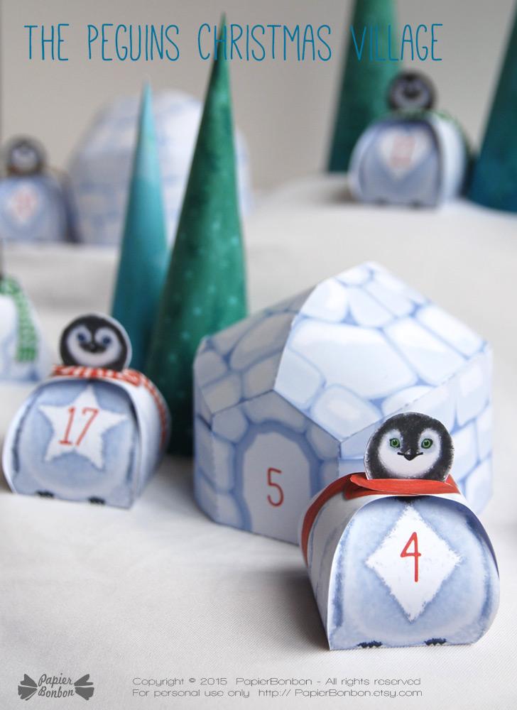Calendrier de l'Avent Village Pingouins / Penguins Village Advent Calendar