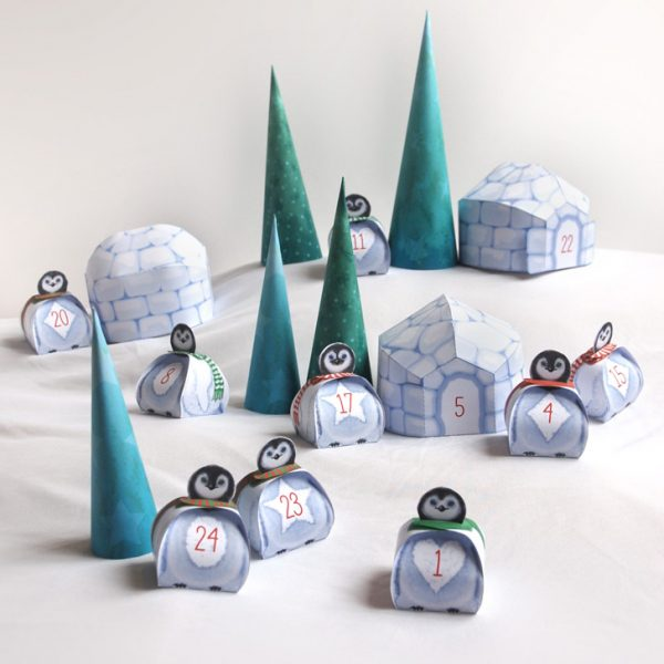Calendrier de l'Avent Village Pingouins / Penguins Village Advent Calendar