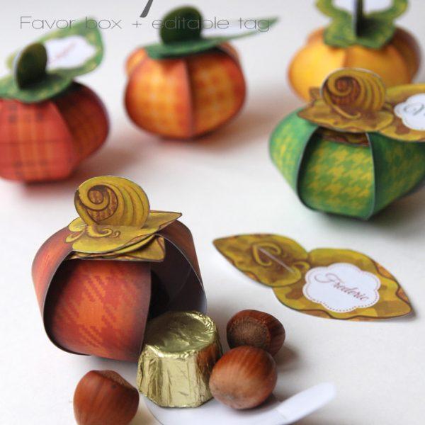 Boîte cadeau Citrouille automne / thankful pumpkin favor box