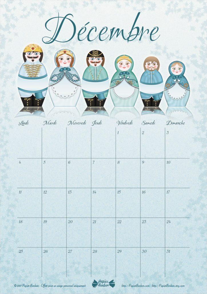 Calendrier de Décembre inspiré du calendrier de l'Avent Les poupées russes