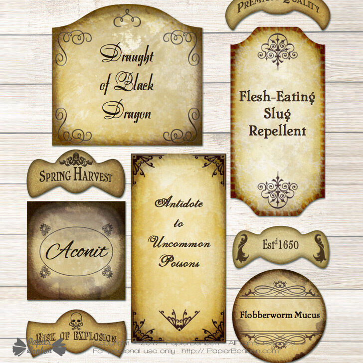 graphic about Harry Potter Potion Labels Printable called Editable Potion Labels - Harry Potter design