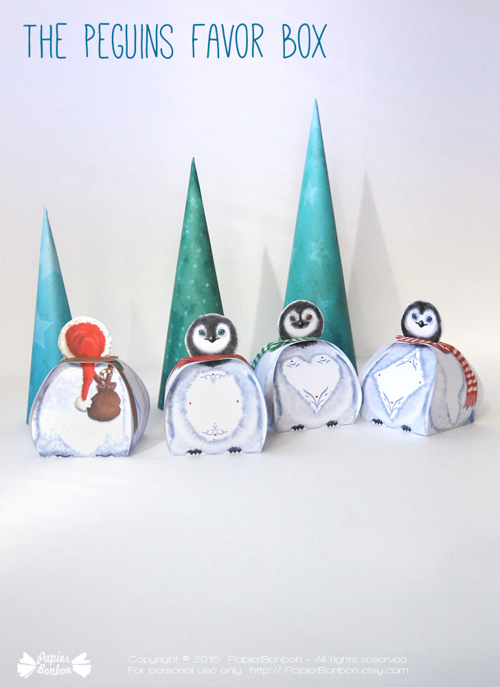 Boîtes cadeaux pingouins - Penguins favor boxes