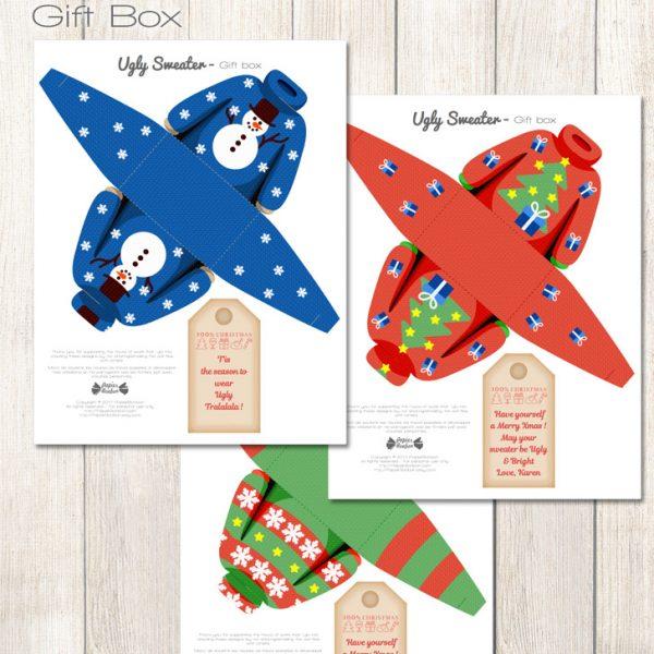 Boîtes cadeaux pull moche de Noël & etiquettes - Ugly Christmas sweater gift box & tags