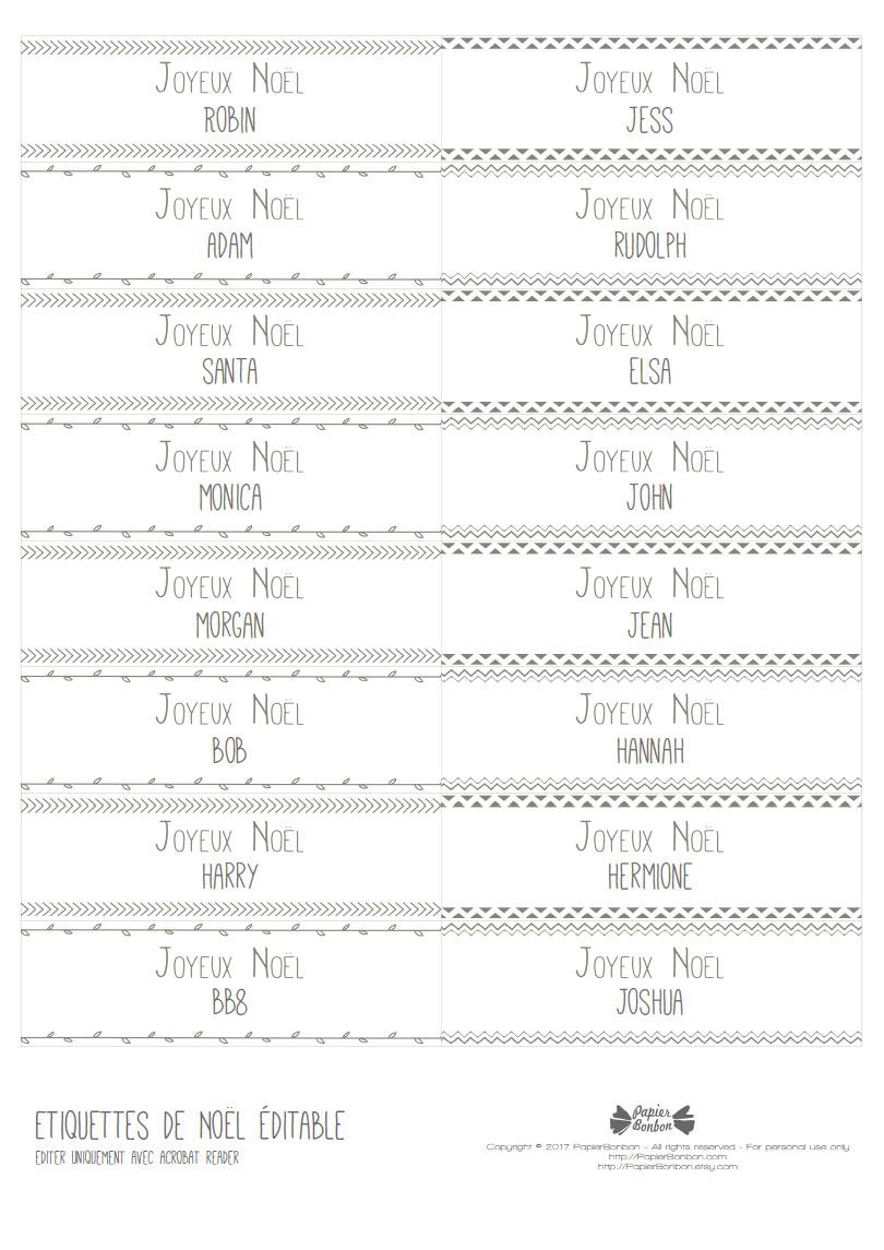 Cadeau Etiquettes De Noel A Imprimer Papier Bonbon