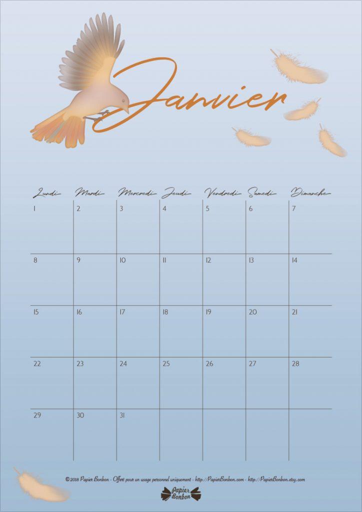 Calendrier de Janvier 2018 à imprimer