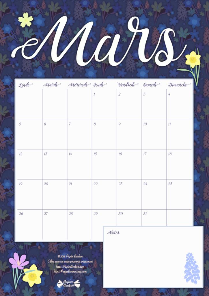 Calendrier mars 2018 à imprimer