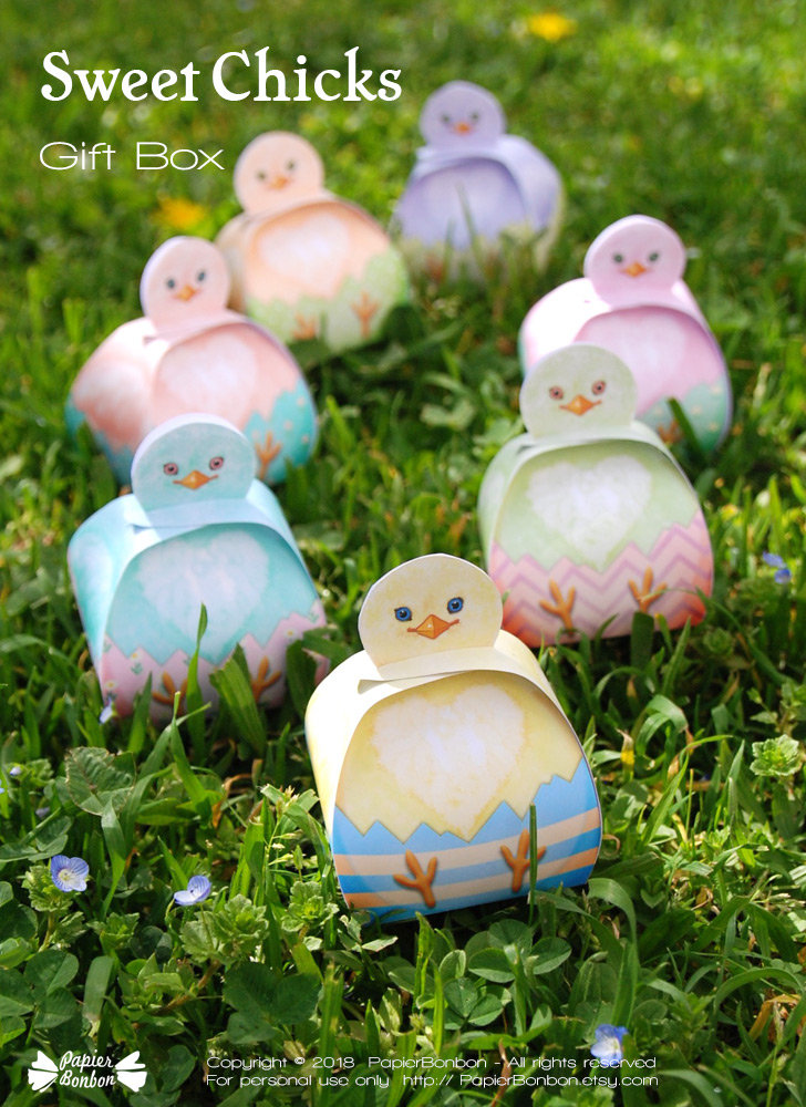 Boites Poussins pastels | Easter chicks gift box