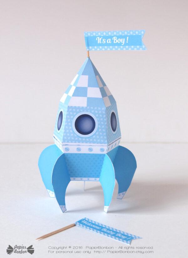 Fusée bleue papertoy / blue rocket gift box