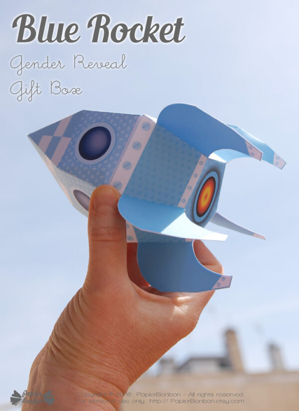 Fusée bleue papertoy / blue rocket gift box